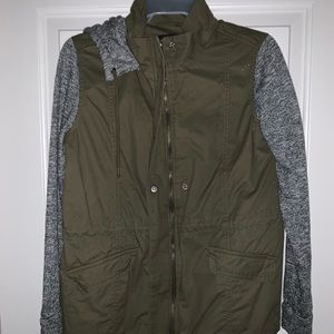 olive jacket with cloth arms